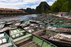 Row boat tam coc stock image
