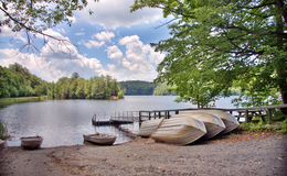 Row Boats. Shot of boat rentals at a lake in summer Stock Photos