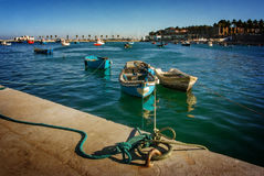 Row Boats Anchored in Cascais Stock Image