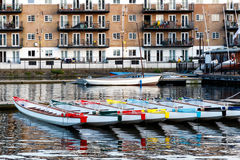 Row of Boats Decorated with Different Colours Stock Photos
