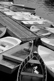 Row boats on the dock Stock Photo