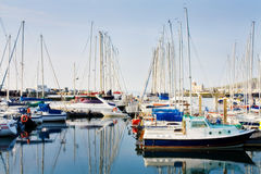 Row of boats docked at Howth harbor Stock Images