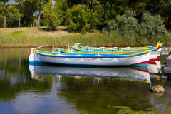 Row Boats at the Pond of Gruissan Stock Photography