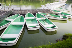 Row boats. For rent in the park Royalty Free Stock Photos