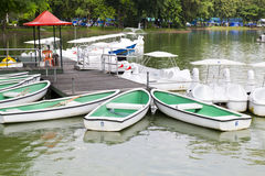 Row boats. For rent in the park Royalty Free Stock Images