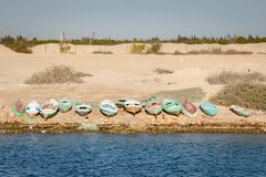 Row Boats on Suez Canal Coastline Stock Photos