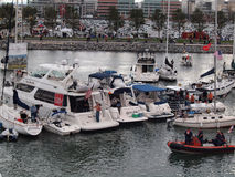 Row of Boats tied together in McCovey Cove Stock Photo