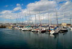 Row of boats. And yachts stock photography