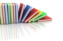 Row books. In different colour (done in 3d Stock Image