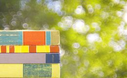 Row of books against nature background, Stock Photography