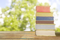 Row of books against nature background, Stock Photos