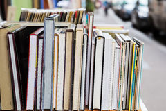 Row of books at an antiquarian bookshop Royalty Free Stock Photo