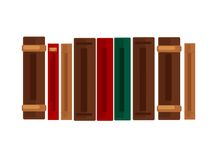 Row of books with brown, red and green covers. Row of thick and thin books with dark brown, bright red and emerald green old-fashioned vintage hard covers Stock Photography