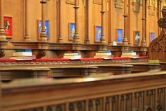 A row of books in a cathedral Royalty Free Stock Photography