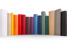 Row of books. Row of different books in different colors Stock Photo