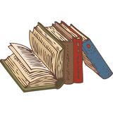 Row of Books. Row of Four Books. Hand Drawn Vector illustration.  on White Background Royalty Free Stock Image