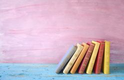 Row of books. Grungy background, free copy space Stock Photography