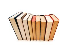 Row of books isolated on the white background Stock Photo