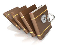 Row of books with key. On white background. 3d render Stock Photos