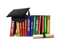 Row Books and Mortarboard with Scroll. Over White Stock Photo
