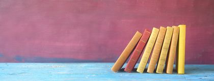 Row of books, panorama,. Free copy space Royalty Free Stock Photo