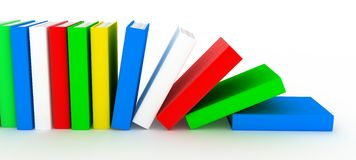 Row books (various colour). Row books (various colour, done in 3d Royalty Free Stock Photos