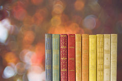 Row of books w. nature background Stock Image