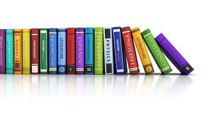 Row books and white background. 3d illustration Stock Image