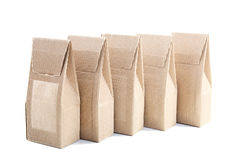 Row of boxes from the goffered cardboard Stock Images