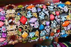 Row of bracelets on jewelry market in Jerusalem Stock Image