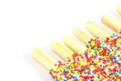 Row of  Bread sticks. Row of colorful Bread sticks  on white background Royalty Free Stock Photography