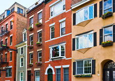 Row of brick houses in Boston Stock Photography