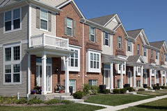 Row of brick townhouses Royalty Free Stock Photography