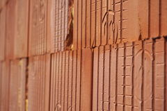 Row of bricks in red  color with the inner holes in the shape of honeycomb on the construction site Stock Photo