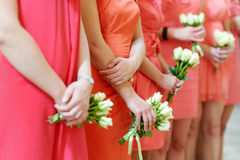 Row of bridesmaids with bouquets Royalty Free Stock Photography