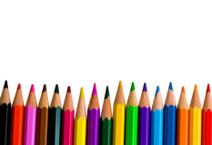 Row of bright color pencils Stock Photos