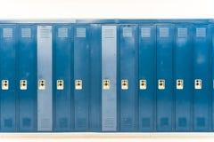 Row of bright colored school lockers