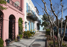 Rainbow Row Housing District Charleston SC Stock Image
