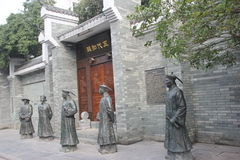 A row bronze statues of officials in the Qing Dynasty Stock Photos