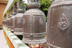 Row of Bronze temple bells Royalty Free Stock Image
