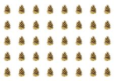 Row of brown cones cone-like many copies on a white background forest pattern background postcard symmetrical. Wrapping paper stock illustration