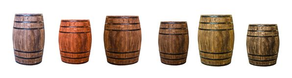 Row brown oak barrel maturation wine extract a set of large cask. Row brown oak barrel maturation wine extract set of large and small cask Royalty Free Stock Images