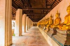Row buddha image , Ayutthaya in Thailand Stock Image