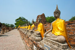 Row of buddha image in wat yai chai mongkol Royalty Free Stock Photos