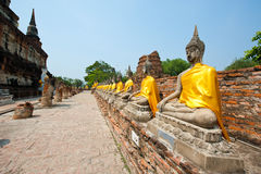 Row of buddha image in wat yai chai mongkol Stock Photo