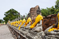 Row of buddha image in wat yai chai mongkol Stock Image