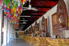The Row of Buddha Images. Stock Photo