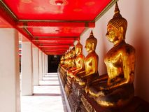 A row of Buddha images at Wat Pho Stock Photo