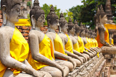 Row of Buddha momument Stock Images