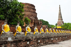 Row of Buddha statue Royalty Free Stock Photography